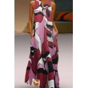 Summer Fancy Color Block Geometric Printed V-Neck Sleeveless Maxi Swing Tank Dress