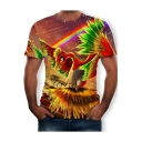 Cool Rainbow Phoenix 3D Printed Round Neck Short Sleeve T-Shirt