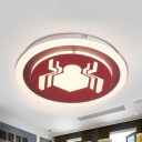 Boys Bedroom Movie Element Ceiling Fixture Acrylic Cartoon Third Gear Flush Mount Light