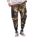 Hip Pop Style Camouflage Letter Printed Flap Pocket Army Green Cotton Cargo Pants