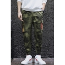 Men's Fashion Cool Camouflage Printed Contrast Striped Flap Pocket Drawstring Waist Army Green Cargo Pants