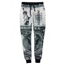 New Fashion Statue of Liberty Printed Drawstring Waist Grey Joggers Sweatpants