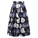 Womens Hot Trendy Galaxy Cat Printed High Rise Midi A-Line Flared Skirt