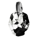 Fashion Geometric Whirlpool 3D Printed Long Sleeve Zip Up Unisex Sport Hoodie