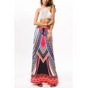 Womens Summer Fashion Tribal Printed Drawstring Waist Maxi Beach Flared Skirt