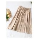 Students Simple Plain Drawstring Waist Button Down Midi A-Line Linen Skirt