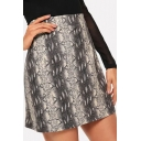 Fancy Snakeskin Print Womens Sexy Mini Bodycon Skirt