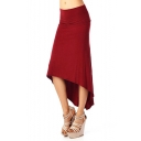 Womens Popular Simple Plain High Low Hem Swallowtail Bodycon Skirt