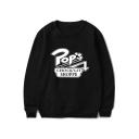 Funny Arrow Letter POP'S Print Basic Crewneck Long Sleeve Casual Sweatshirt