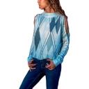 Stylish Mock Neck Cold Shoulder Long Sleeve Rhombus Printed Loose Fit Sweatshirt