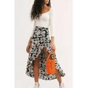 Summer Trendy Floral Polka Dot Printed Split Side Holiday Beach Skirt