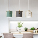 Gray/Green/White Drum Shade Pendant Lamp Nordic Metal 1 Head Hanging Light in Gold Finish