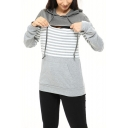 Womens Simple Striped Print Long Sleeve Zipper Closure Marternity Nursing Hoodie