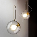 Post Modern Tilt Globe Hanging Light Clear Glass 1 Bulb Pendulum Light for Bar Cafe Restaurant