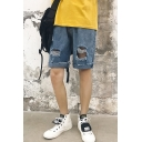 Men's Popular Destroyed Ripped Rolled Raw-edged Light Blue Plain Straight Denim Shorts