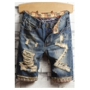 Men's Simple Plain Trendy Destroyed Ripped Detail Blue Casual Jeans Denim Shorts
