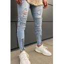 Men's Cool Fashion Zip Cuff Pleated Knee Patched Stretch Slim Fit Light Blue Ripped Jeans