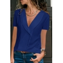 Summer Trendy Simple Plain Lapel V-Neck Short Sleeve Button Front Casual Shirt Blouse