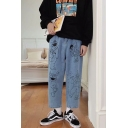 Unisex Cartoon Figure Printed Straight Wide Leg Blue Casual Jeans