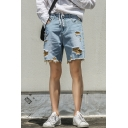 Men's Stylish Contrast Ripped Detail Cut Off Style Casual Denim Shorts