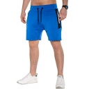 Men's Summer Stylish Colorblocked Zipped Pocket Drawstring Waist Sports Sweat Shorts