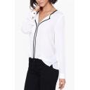 Womens Summer Elegant Contrast Trim V-Neck Long Sleeve White Chiffon Blouse Shirt