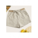 Womens Summer Fashion Beige Linen Bow-Tied Waist Loose Casual Shorts
