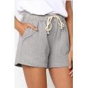 Summer Womens Comfort Linen Drawstring Waist Plain Loose Fit Pull On Shorts