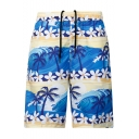 Summer Men's Floral Coconut Tree Pattern Quick Drying Elastic Drawstring Waist Beach Shorts Swim Trunks with Pocket