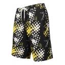Men's Fashion Pattern Black Casual Drawstring Waist Sport Swim Trunks with Pockets