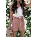 Fashion Plain Bow-Tied Waist Button-Fly Loose Leisure Paperbag Shorts