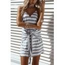 Womens Grey Striped Print V-Neck Sleeveless Tied Waist Mini Slip Dress
