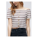 Summer Trendy Striped Printed Sexy Off the Shoulder Short Sleeve Button Down Cropped T-Shirt