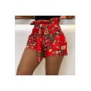 Fashion Chic Floral Printed Bow-Tied Waist High Rise Paperbag Shorts