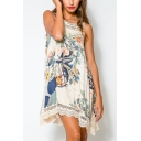 Chic Lace Trim Round Neck Sleeveless Fashion Floral Printed Mini Tank Dress
