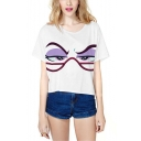 Cool Funny Cartoon Eyes Printed Round Neck Short Sleeve White Casual Crop Tee