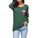 Womens New Trendy Floral Pocket Round Neck Long Sleeve Fitted T-Shirt