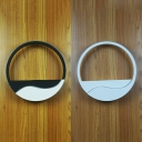 Black/White Ring LED Wall Washer Asian Style Acrylic Shade Wall Lighting for Bedside Corridor