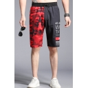 Men's Summer New Trendy Colorblock Camouflage Letter Printed Drawstring Waist Black and Red Casual Relaxed Shorts