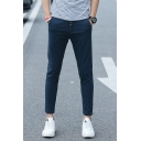 Men's Fashionable Basic Simple Plain Slim Fitted Casual Cotton Dress Pants