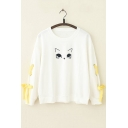Girls Cute Cartoon Cat Letter Embroidery Round Neck Tied Long Sleeve Casual White Sweatshirt