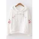 Girls Simple Chic Letter Floral Embroidery Long Sleeve Casual Pullover Hoodie