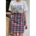 Fashion Girls Spring Summer Rainbow Check Print Mini Fitted Skirt