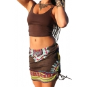 Womens Holiday Fashion Brown Tribal Printed Drawstring Side Mini Fitted Skirt