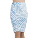 Summer Womens Hot Fashion White Blue Stripe Print Split Back Midi Pencil Skirt