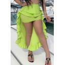 Womens Summer Cool Flourescent Green Street Fashion High Low Maxi Ruffled Skirt