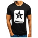 1903 Star Printed Round Neck Short Sleeve Cotton Fitted Tee for Guys