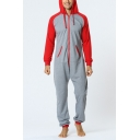 Men's New Stylish Long Sleeve Hooded Zip Up One Piece Grey and Red Sleepwear Lounge Jumpsuits