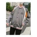 Guys Vintage Fashion Contrast Stripe Trim Stand Collar Long Sleeve Button Down Loose Baseball Jacket
