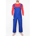 Popular Halloween Mario Cosplay Costume Solid Color Overall Pants for Adults